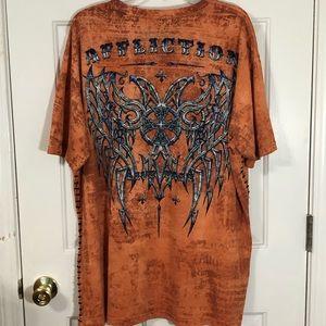 Affliction Live Fast 3XL Bright Orange T-Shirt